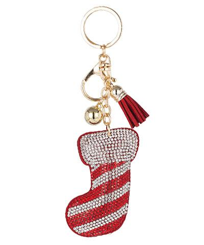 Candy Cane Soft Crystal Keychain - KEY1041RD