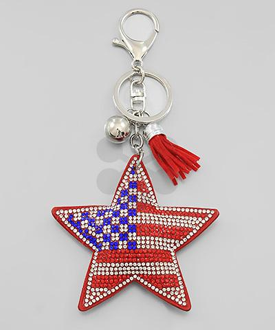 Red/White/Blue Soft American Flag Star Glitter Keychain - KEY1078RD