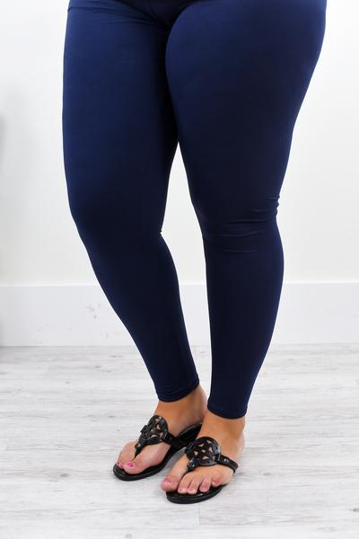 Navy Wide Band Solid Leggings (Sizes 20-26) - LEG2215NV