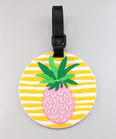 Yellow/White Stripe Pineapple Luggage Tag - TAG1013YE