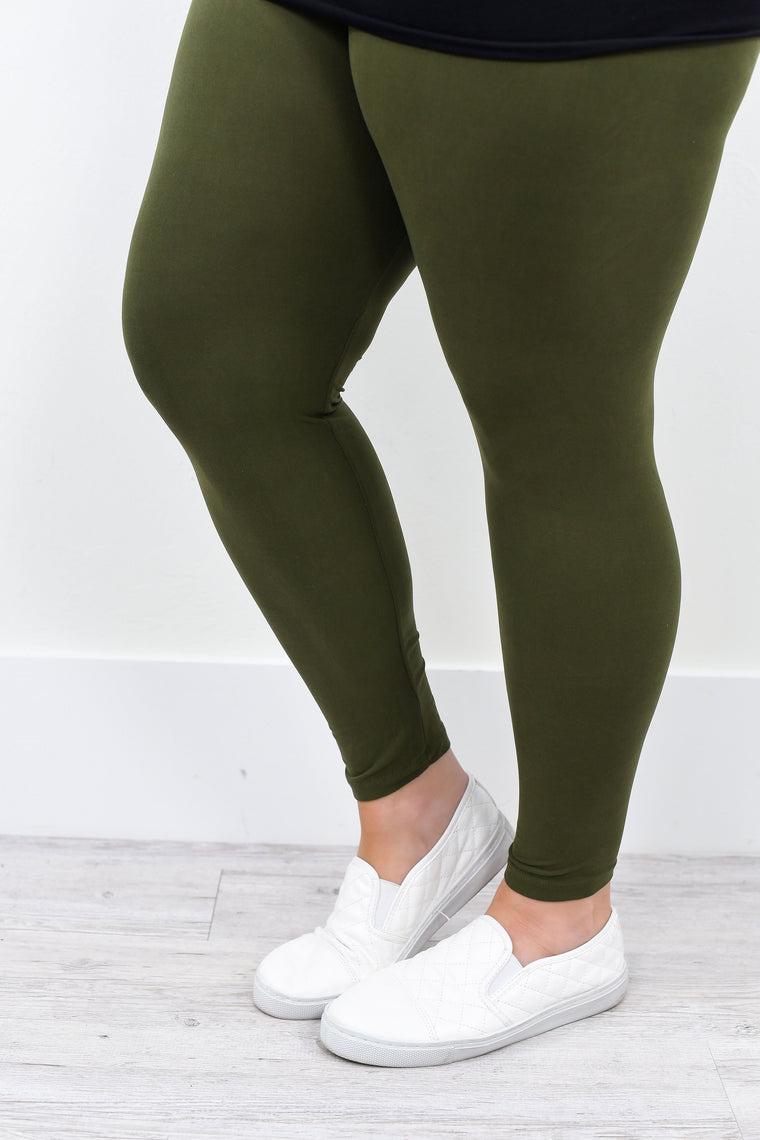 Olive Solid Leggings (Sizes 20-26) - LEG1412OL