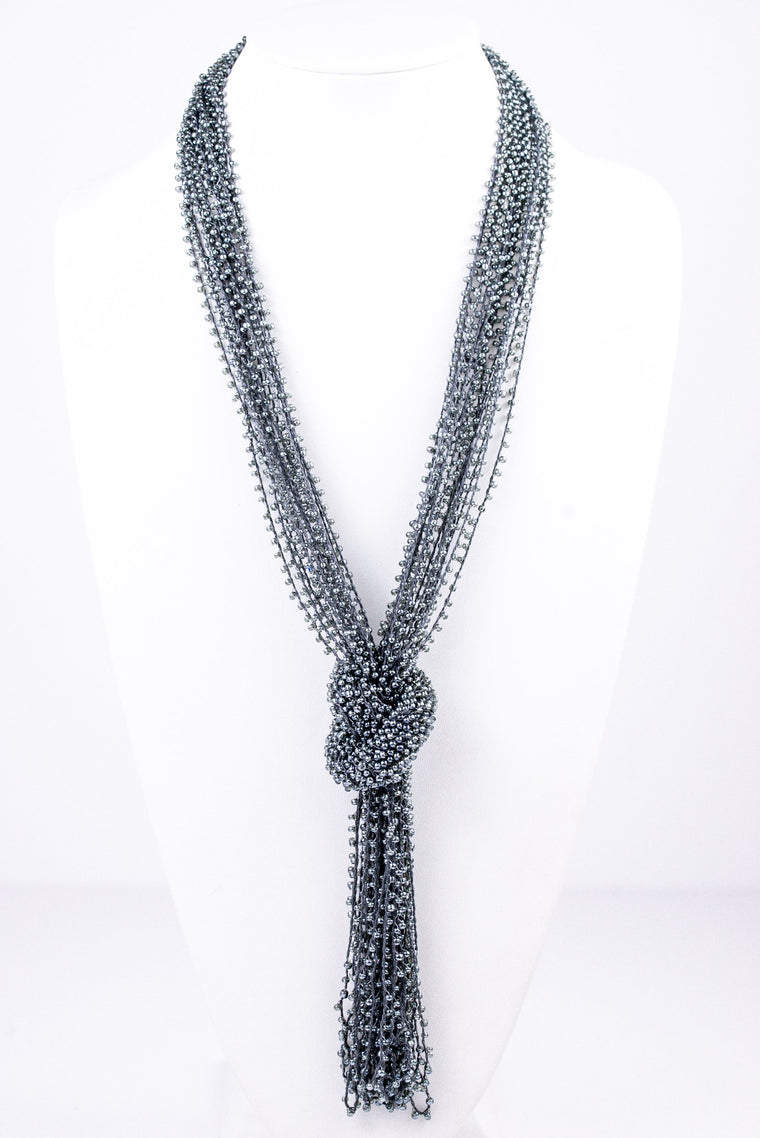 Gray Beaded Knot Tassel Necklace - NEK1334GR