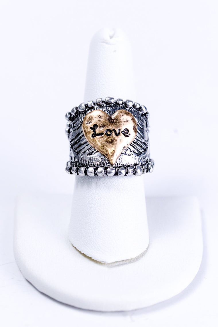 Silver With Gold Love Stretch Ring - RNG1001SI