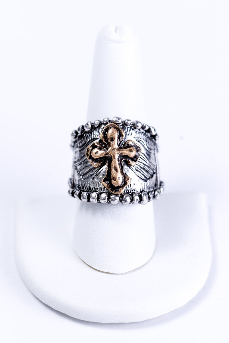 Silver With Gold Cross Stretch Ring - RNG1002SI
