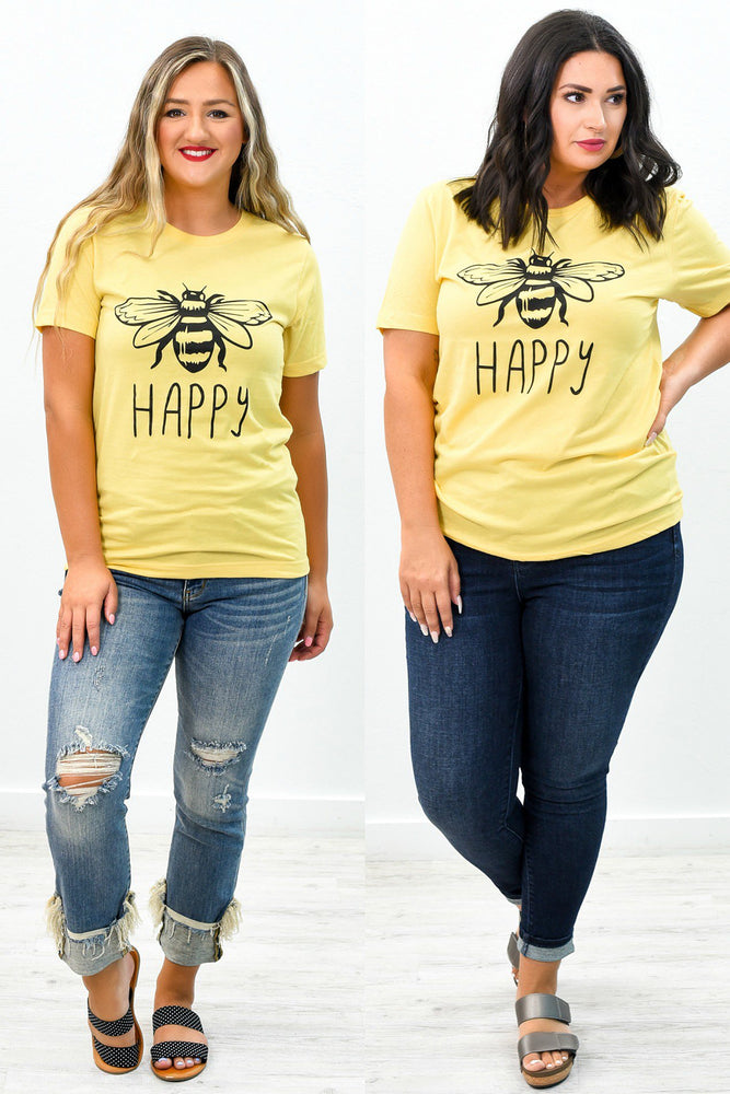 Bee Happy Heather Yellow Gold Graphic Tee - A739HYG