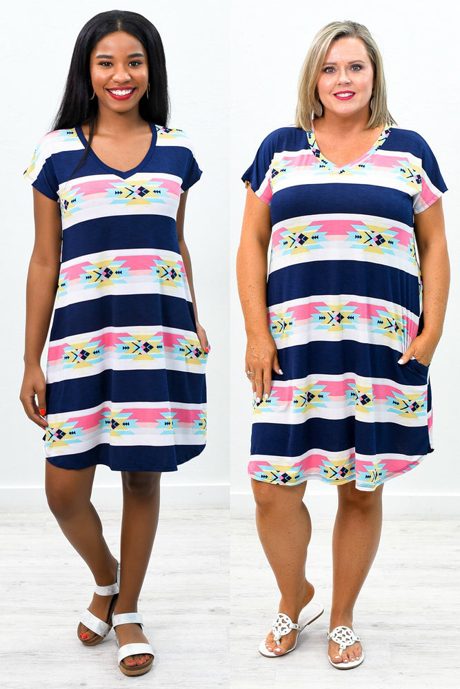 Here For The Season Navy/Multi Color Tribal Printed V Neck Dress - D3546NV