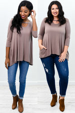 Classic Moves Mocha Solid Asymmetrical Tunic - B9348MO