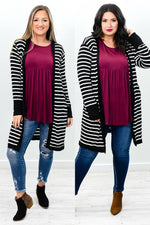 Living On A Thin Line Black/Ivory Striped Cardigan - O2731BK