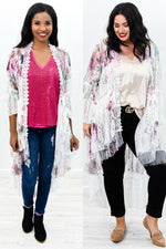Flower Time To Shine Ivory/Rose Floral Sheer High-Low Long Kimono - O2701IV