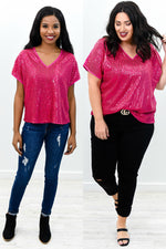 Light Up The Room Hot Pink Sequins V Neck Top - B9361HPK