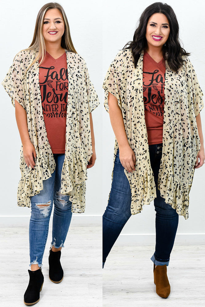 Always In Control Light Latte Leopard Sheer Kimono - O2684LLT