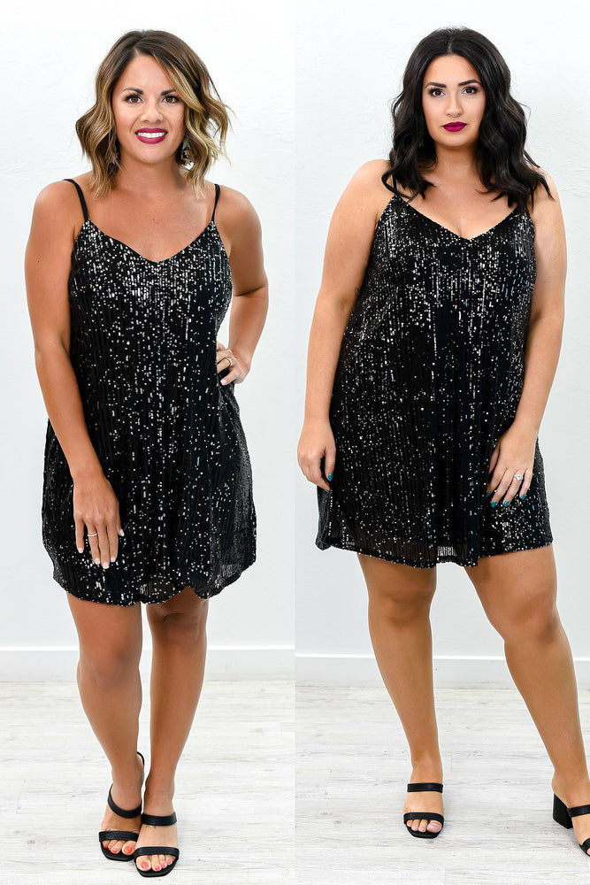 The Beat Goes On Black Sequins V Neck Dress - D3582BK