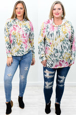 Free Spirited Mustard/Multi Color Tie Dye Hooded Top - B9444MS