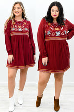 Looking So Lovely Burgundy/Multi Colored Embroidered Dress - D3586BU
