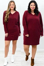Watch And Wait Wine Solid V Neck Dress - D3584WN