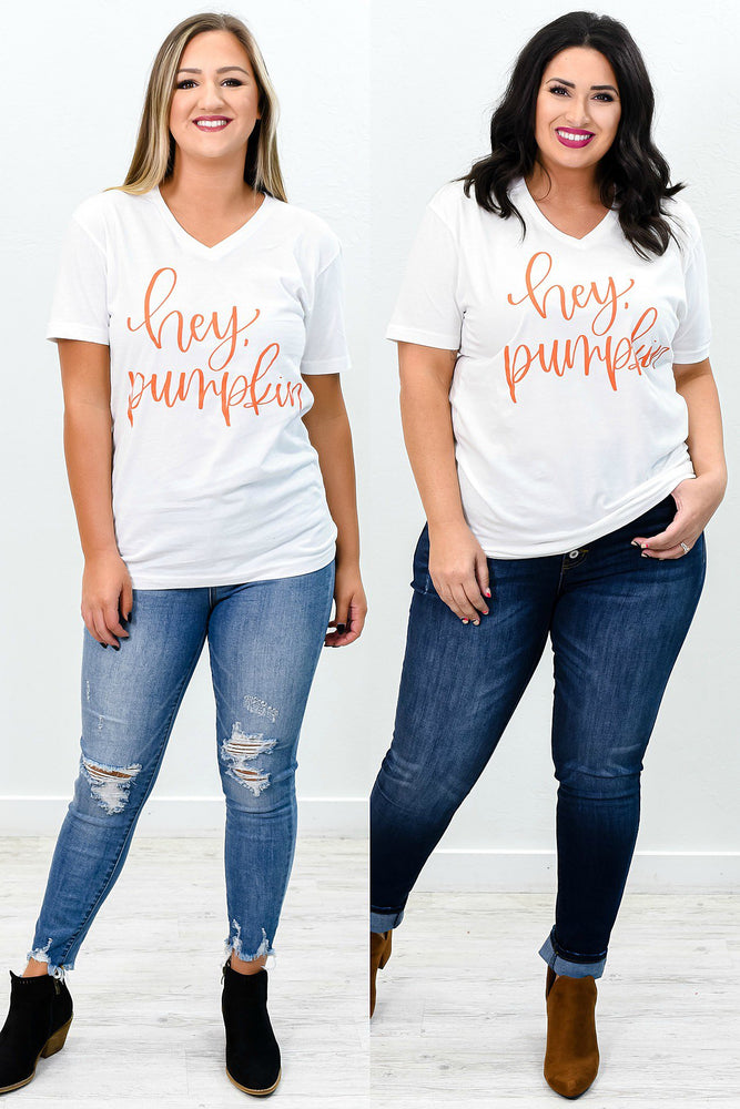 Hey Pumpkin White V Neck Graphic Tee - A816WH