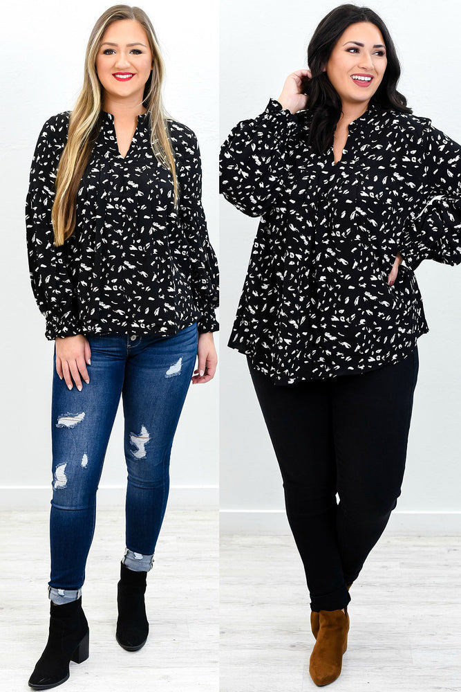 Be The Center Of Attention Black/Ivory Printed V Neck Top - B9593BK