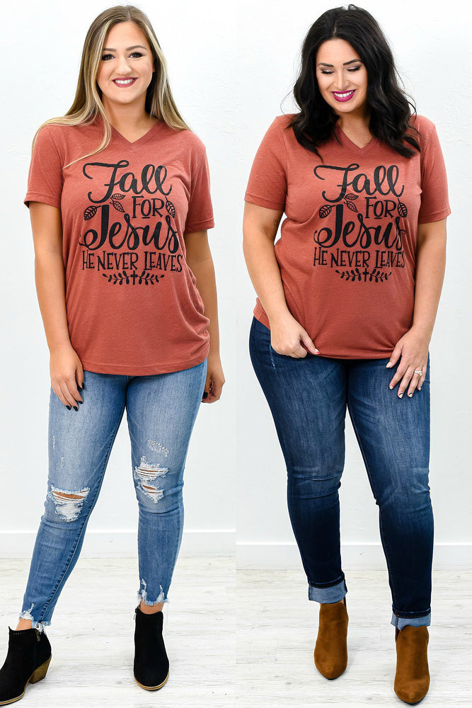 Fall For Jesus Clay V Neck Graphic Tee - A814CY