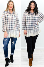 The Way Out West Teal/Beige Plaid Lace/Embroidered Top - B9591TE