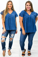 You Dot It Good Navy Polka Dot V Neck Top - B9184NV