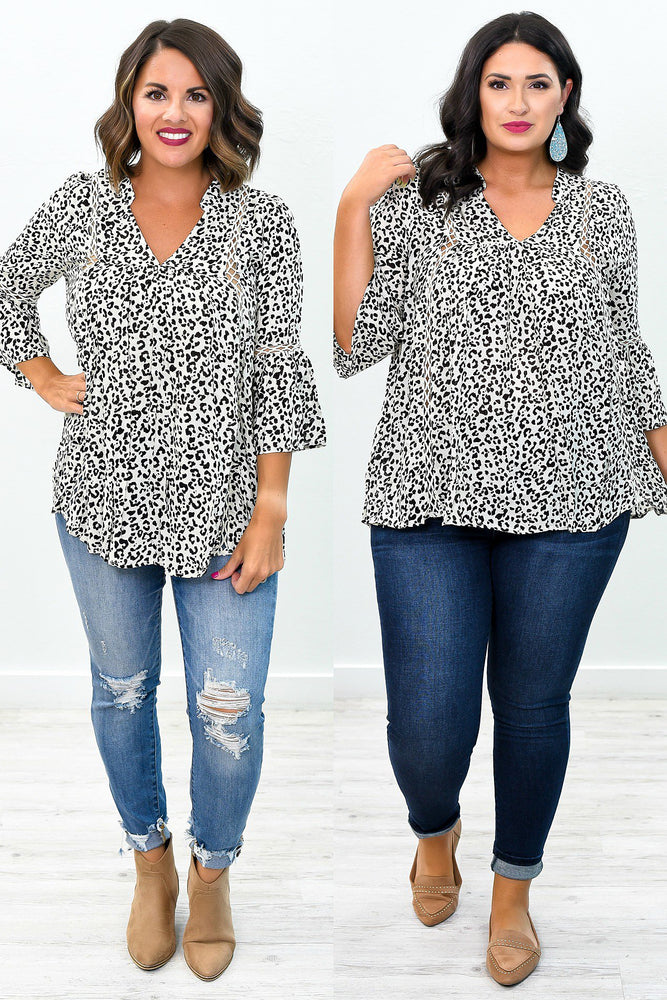 Chasing Perfection Ivory/Black Leopard V Neck Top - B9106IV
