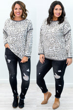 Fierce On The Outside Charcoal Gray Leopard Long Sleeve Top - B9191CG