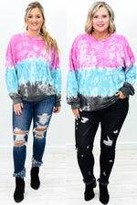 Blew Me Away Pink/Multi Color Tie Dye Sweatshirt - B9235PK
