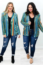Can't Take Away My Shine Jade/Multi Color Serape Sequins Blazer - O2736JD