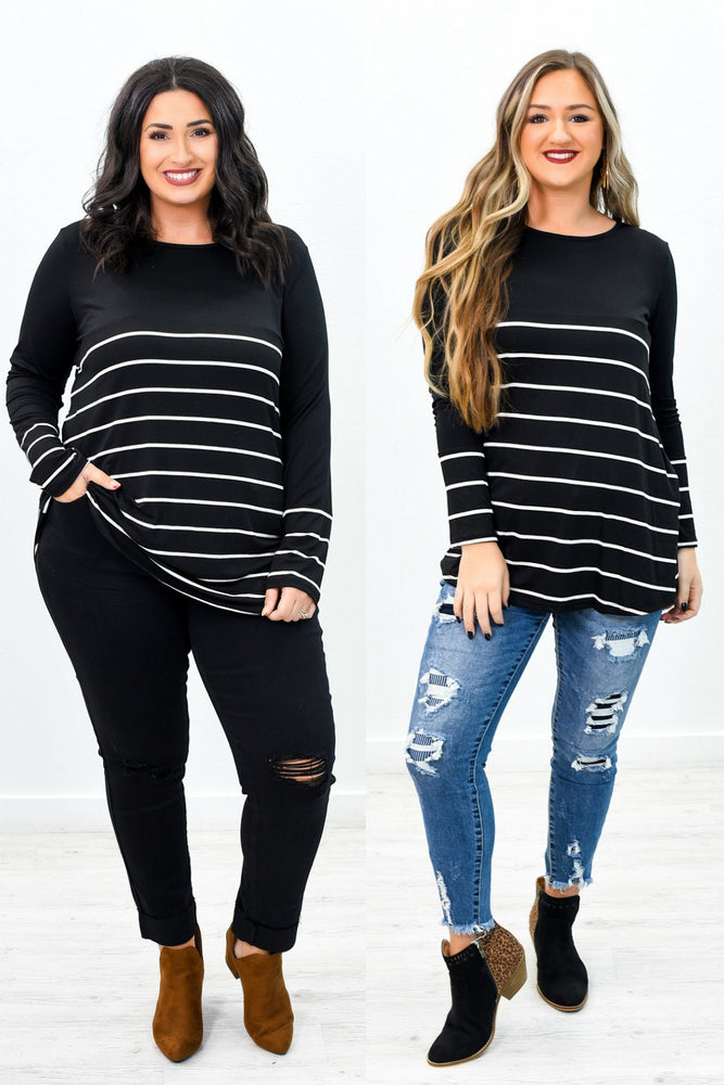 Got The Stripe Idea Black/Ivory Striped Top - B9404BK