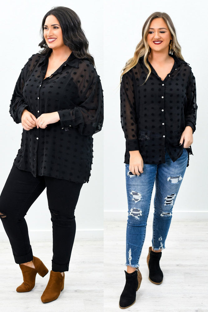 Wander On By Black Polka Dot Sheer Top - B9369BK