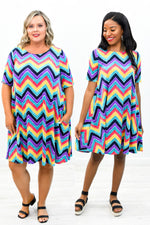 Take My Word For It Multi Color Chevron Printed Dress - D3486MU