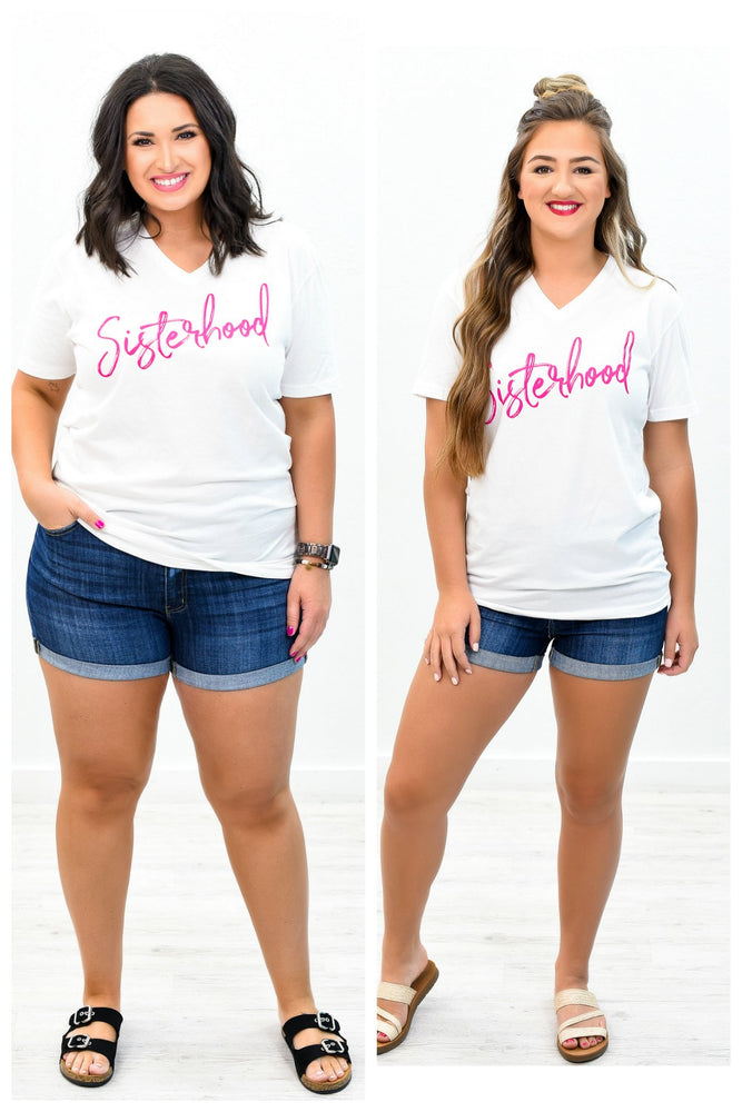 Sisterhood White V Neck Graphic Tee - A673WH