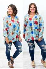Grow Your Worth Light Aqua Floral High-Low Top - B8803LAQ