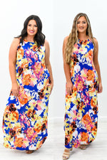 Grow Like The Wild Flowers Royal Blue/Multi Color Floral Maxi Dress - D3536RB