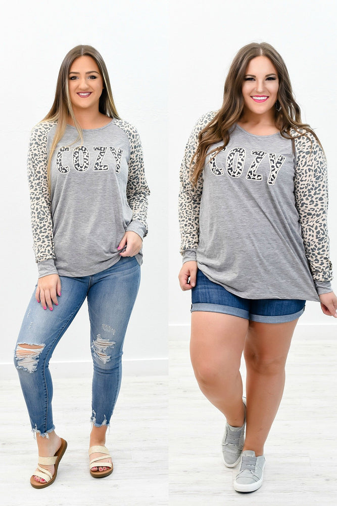 'Cozy' Gray/Leopard Sleeves Graphic Top - B8270GR