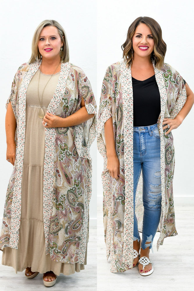 Playing All The Angles Ivory/Latte Multi Pattern Sheer Kimono - O2572IV