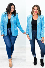 Shine By Me Blue Sequins Blazer - O2627BL