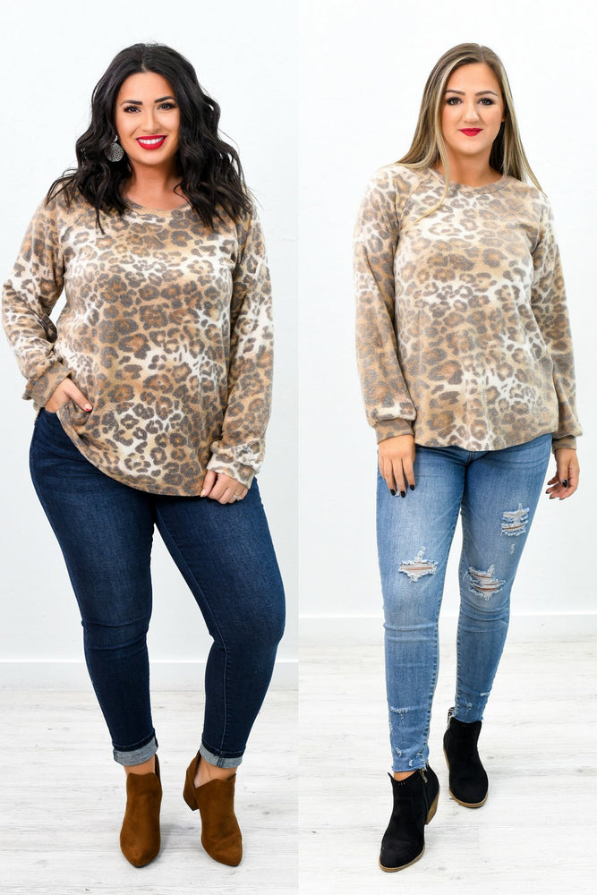 Do Whatever It Takes Light Brown Leopard Top - B9333LBR