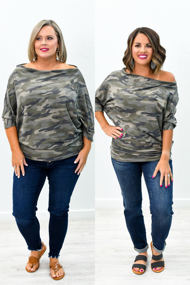 See You Again Olive Camouflage Off The Shoulder Top - B9099OL