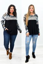 Celebrate Yourself Black Leopard/Tie Dye Sleeves Top - B9336BK