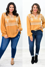 Chic In The City Marigold Embroidered V Neck Top - B9170MG
