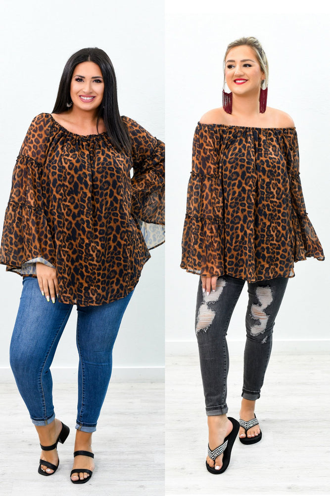 Chasing After My Heart Brown Leopard Sheer Off The Shoulder Top - B8992BR