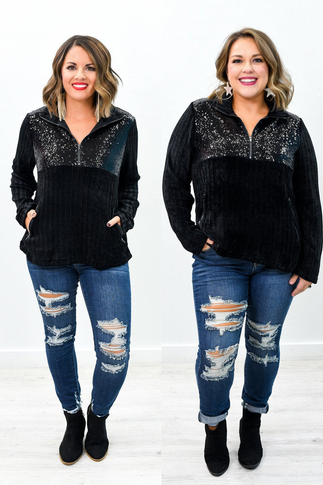 Shine All Day Black Sequins Sweater Top - B9359BK