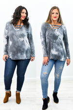 Digging Your Vibe Dusty Navy Tie Dye V Neck Top - B9319DNV
