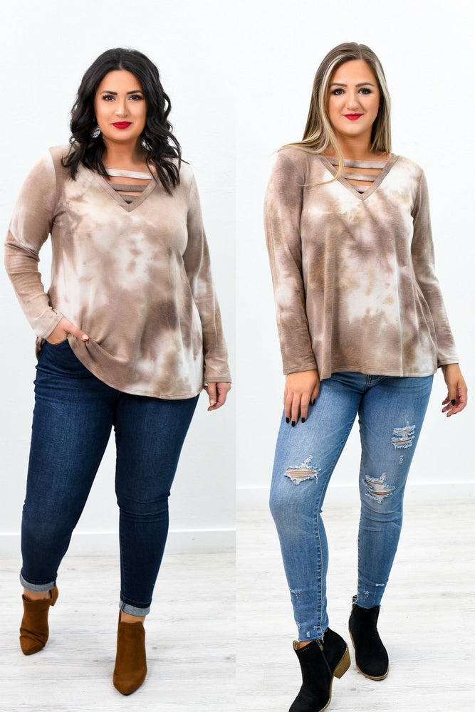 Digging Your Vibe Dusty Mocha Tie Dye V Neck Top - B9320DMO