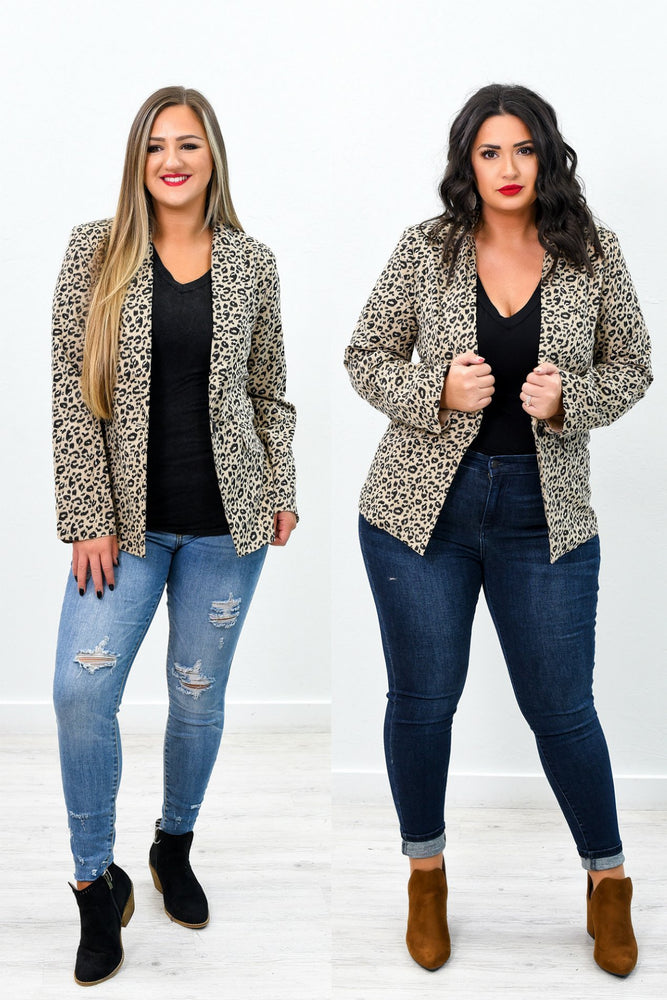Live The Impossible Taupe Leopard Blazer - O2687TA