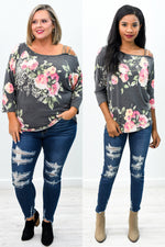 Garden Of Secrets Charcoal Gray/Multi Color Floral Open Shoulder Top - B9394CG
