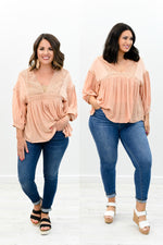 Dates With You Peach Embroidered V Neck Top - B8424PE