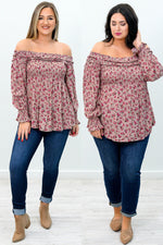Blooming In Love Mauve Floral Off The Shoulder Top - B9097MV