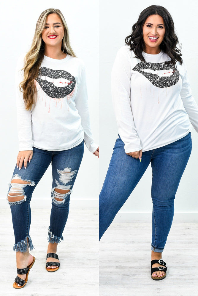 Zip Your Lips Black Glitter Lip White Long Sleeve Graphic Tee - A762WH